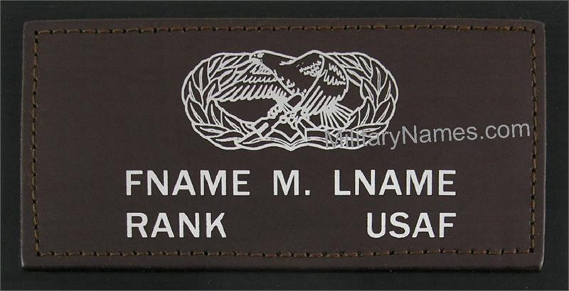 Leather name tags for flight jackets