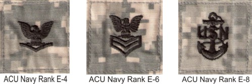 ACU **NAVY**  RANK Insignia w/ Hook Fastener