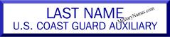 USCG WHITE 2 LINE NAME PLATES CUSTOM