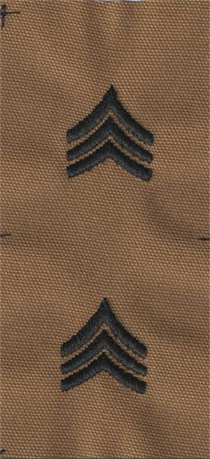 Army Style Coyote Rank Sew On Black Thread  (PAIRS)