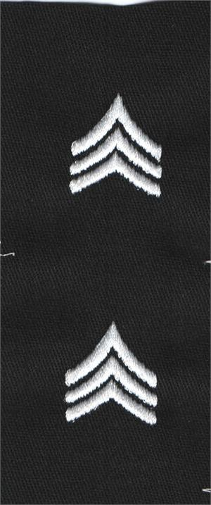 Army Style Black Fabric Rank Sew On (PAIRS)