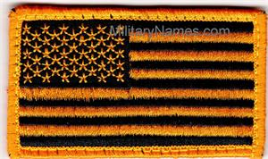 GOLD ON BLACK  FORWARD AMERICAN FLAGS with Hook  Fastener