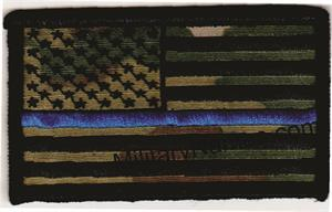 OCP BLACK THREAD THIN BLUE LINE AMERICAN FLAGS with HOOK FASTENER