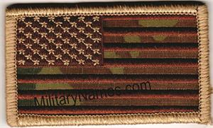 Forward American Flags on MultiCam SEW ON - Spice Brown