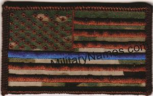 OCP SPICE BROWN THREAD THIN BLUE LINE AMERICAN FLAGS with HOOK FASTENER