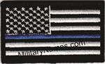 WHITE & BLACK THIN BLUE LINE AMERICAN FLAGS with HOOK FASTENER