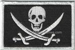 Calico Jack  on White on BLACK FABRIC w/ Hook  Fastener